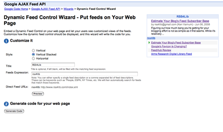Screen shot of Google's RSS embedding tool