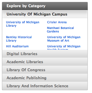 Cuil categories for search