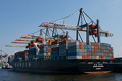 Wharf, Crane, and Containers