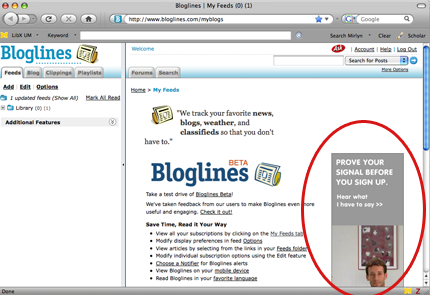 Advertisement on Bloglines' home page