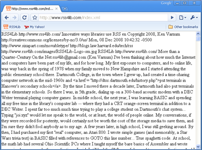 RSS Feed as displayed in Google Chrome