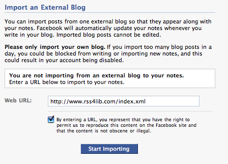 Facebook Notes Redirects Your Feeds – RSS4Lib