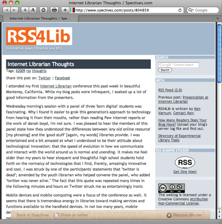 Spectives Toolbar Superimposed on RSS4Lib (screenshot)