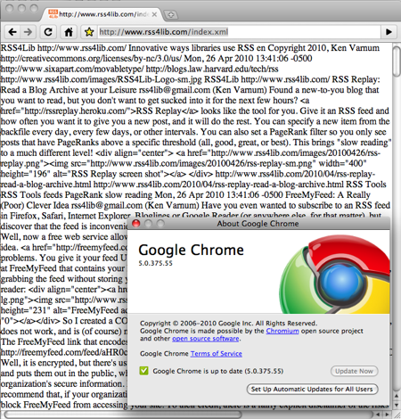 Click for large image of Google Chrome's RSS Display