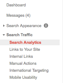 Search Analytics Menu in Google Search Console