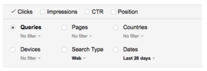 Search Analytics Options