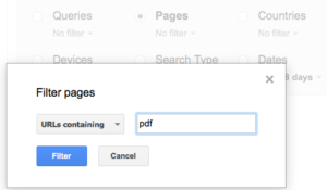 Entering PDF into the search filter